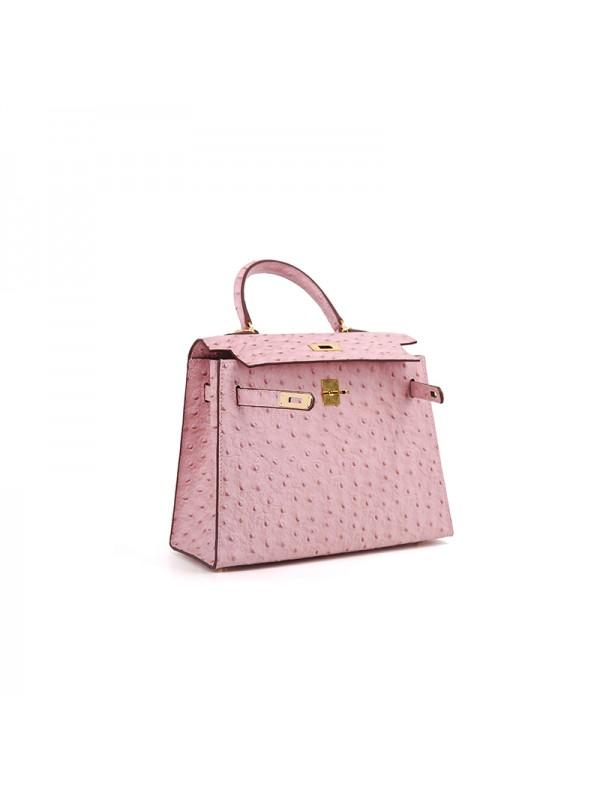 25CCKK 鸵鸟纹经典款baby粉色金扣W
