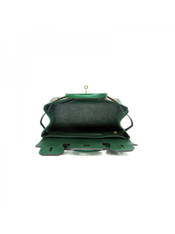 30CCSJ 平纹皮经典款墨绿色金扣双肩包