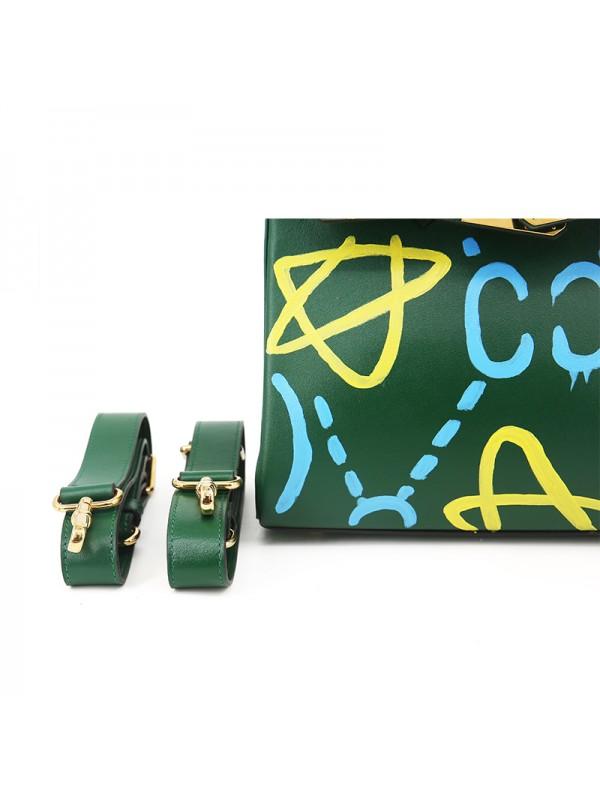30CCSJ 平纹皮手绘款墨绿色金扣(星心相惜)双肩包
