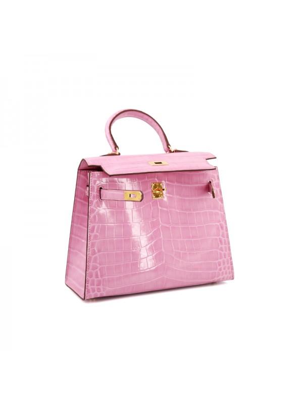 25CCKK 湾鳄经典款樱花粉色金扣