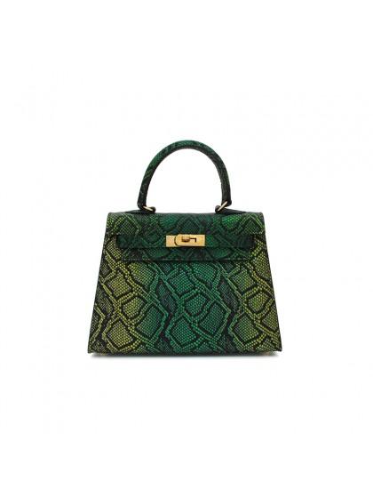 22CCKK 蟒蛇纹经典款炫彩绿色金扣