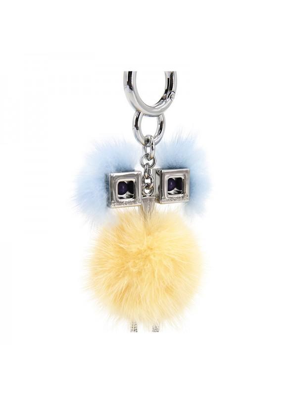 HLM 水貂毛球挂件鹅黄色
