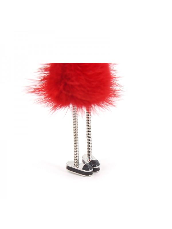 HLM 水貂毛球挂件中国红色