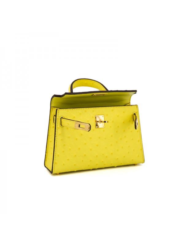 20CCKK 鸵鸟纹经典款柠檬黄色金扣(升级版)