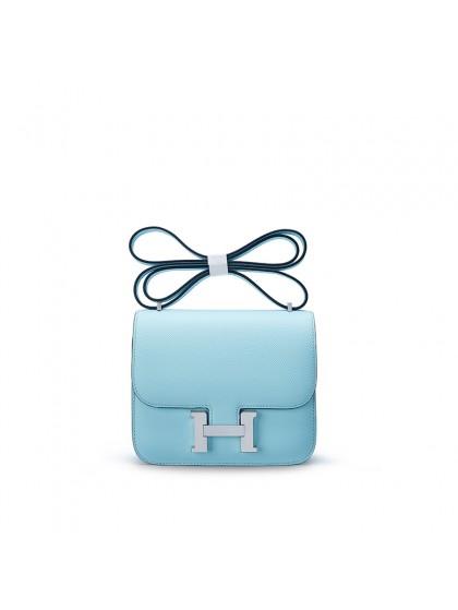 19/23CCDD手掌纹空姐包清水蓝色H银扣