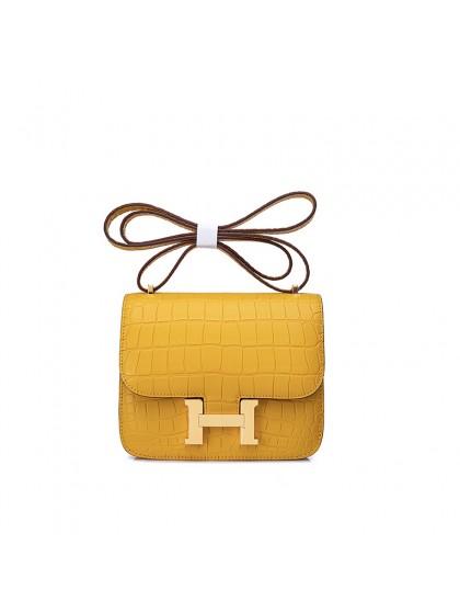 19CCDD雾面湾鳄潘多拉空姐包太阳黄色H金扣