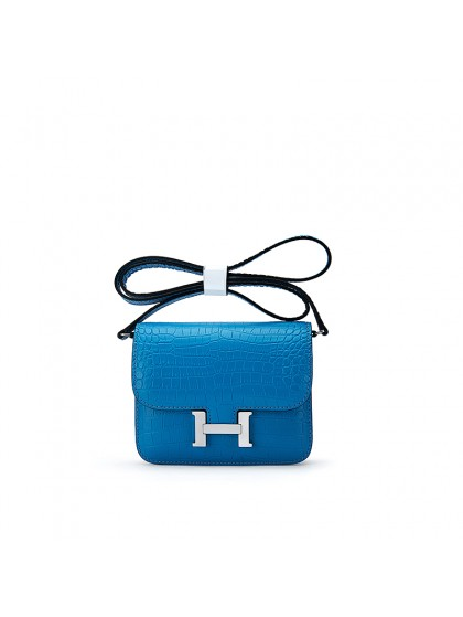 15CCDD雾面鳄鱼纹迷你空姐包琉璃蓝色H银扣