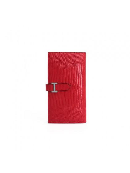 18BJBW 蜥蜴纹中国红色皮夹H银扣