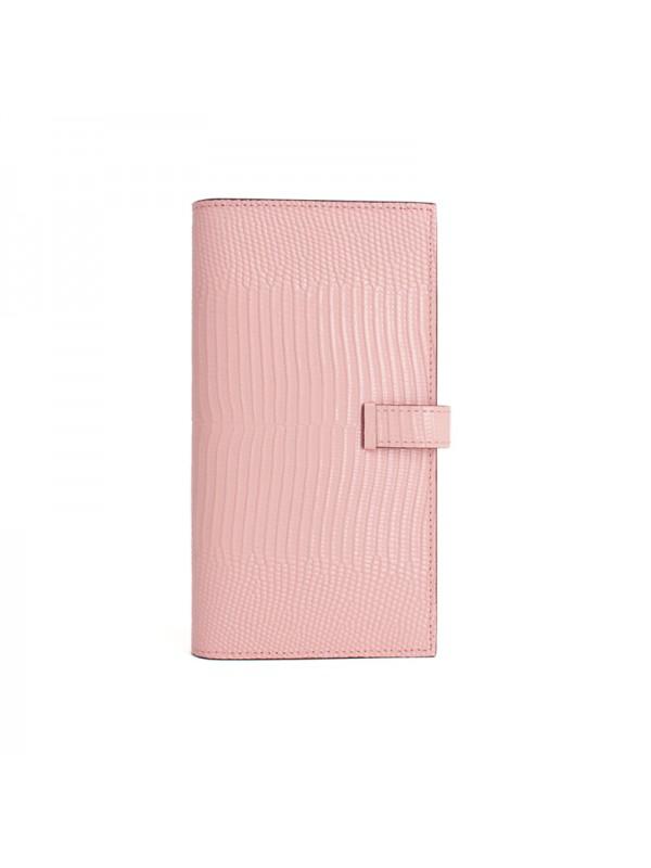 18BJBW 蜥蜴纹BABY粉色皮夹H银扣