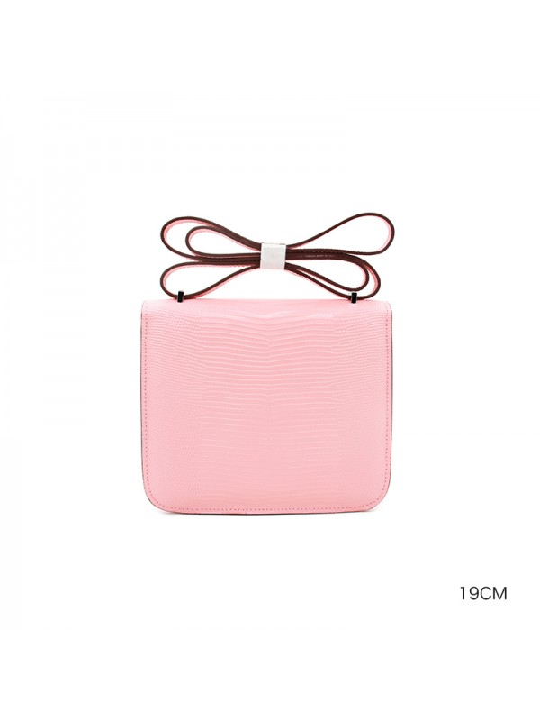 19/23CCDD 蜥蜴纹潘多拉空姐包BABY粉色HOH金(银)扣