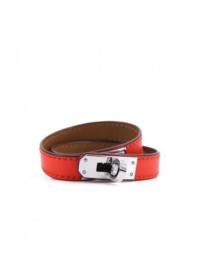 平纹手环橙红色银扣