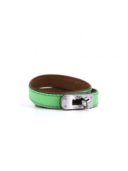 平纹手环苹果绿色银扣
