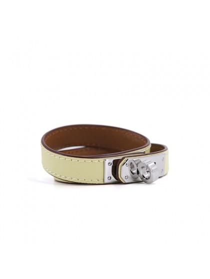 平纹手环鹅黄色银扣