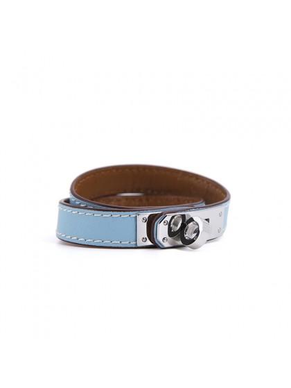 平纹手环天空蓝色银扣