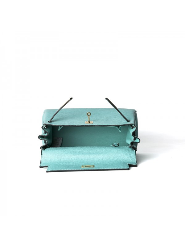 25CCKK 荔枝纹经典款Tiffany蓝色金扣(內缝)