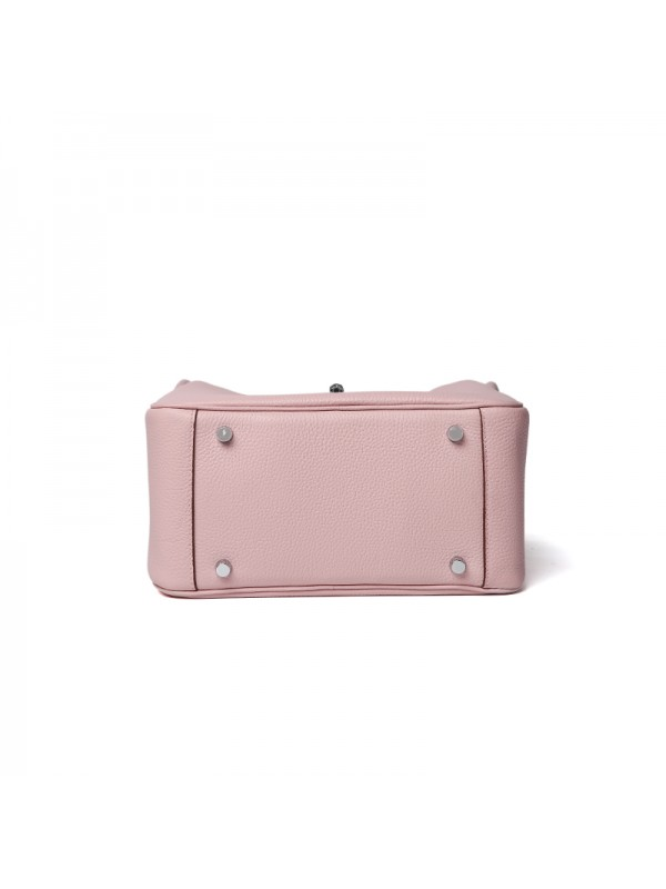 26CCLD 荔枝纹经典款baby粉色银扣