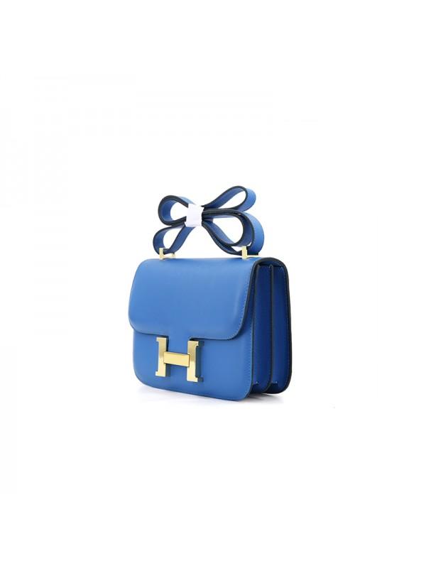 19/23CCDD 手掌纹潘多拉空姐包电光蓝色H金扣W