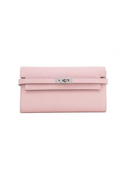 20TLKK平纹BABY粉色皮夹KK款银扣