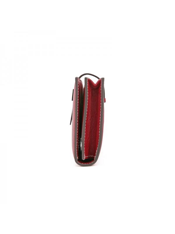 18TLHH 平纹酒红色皮夹H银扣