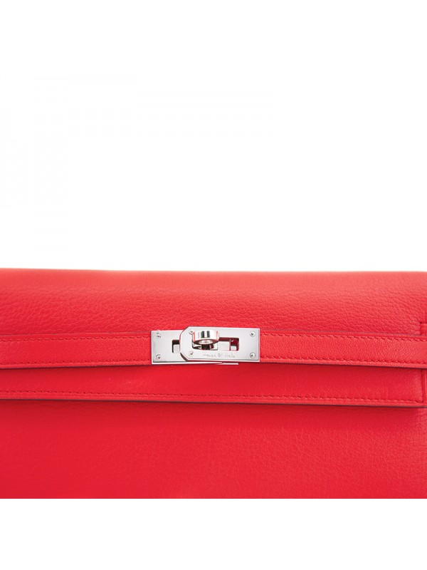 20TLKK 平纹橙红色皮夹KK款银扣