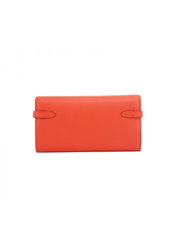 20TLKK平纹橙红色皮夹KK款银扣