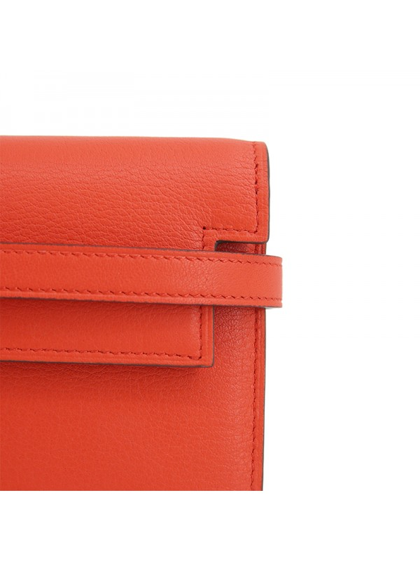 20TLKK 平纹橙红色拼浅卡其皮夹KK款银扣