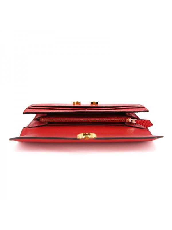 22BJBW 蜥蜴纹中国红色皮夹HOH金扣