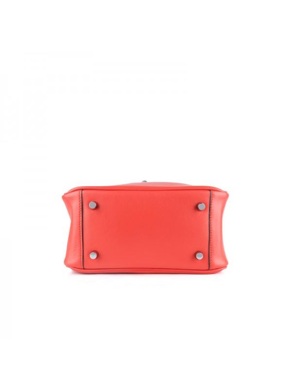 22CCLD LINDY流浪包平纹经典款橙红色银扣