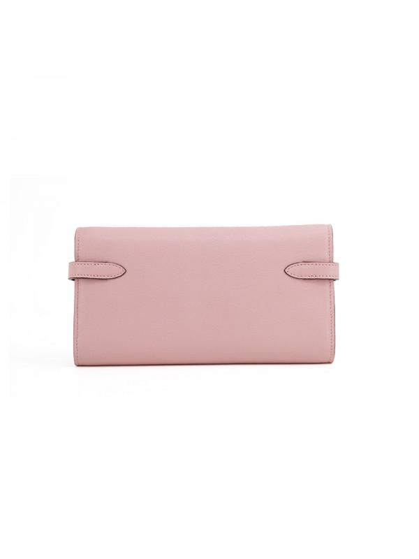 20TLKK 平纹BABY粉色皮夹KK款银扣