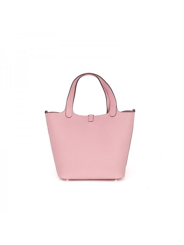 18/22CCCL 荔枝纹原版皮妈咪包BABY粉色银扣