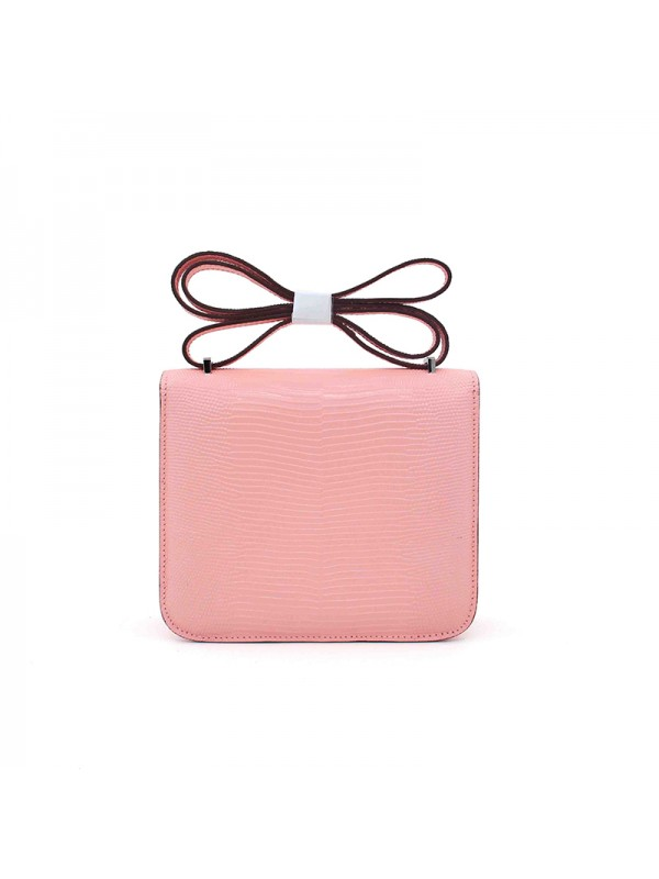 19/23CCDD 蜥蜴纹潘多拉空姐包BABY粉色H银扣