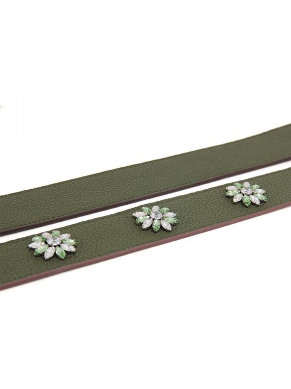 30CCLD 钻石之恋荔枝纹原版皮经典款军绿色银扣