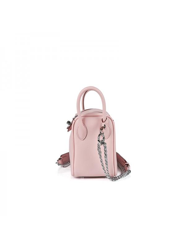 22CCLD LINDY流浪包平纹经典款BABY粉色银扣
