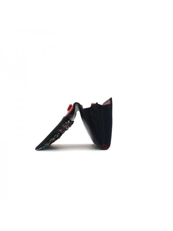 20CCXB 蜥蜴纹黑拼红彩钻银扣