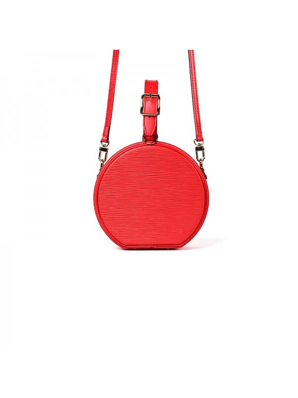 17CCYY 兰博基尼水波纹圆盒包中国红色金扣