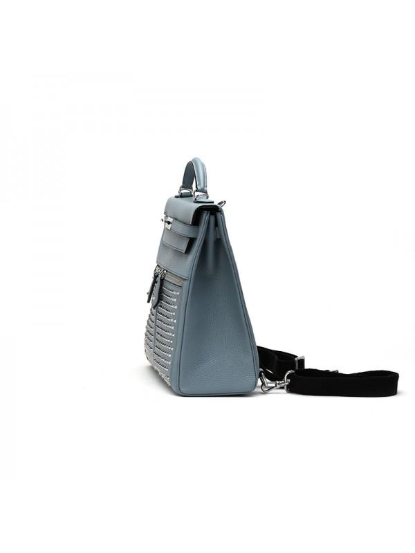 28CCSJ 荔枝纹铆钉亚麻蓝色银扣双肩包