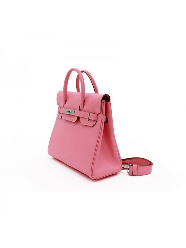 30CCSJ 平纹皮经典款樱花粉色银扣双肩包