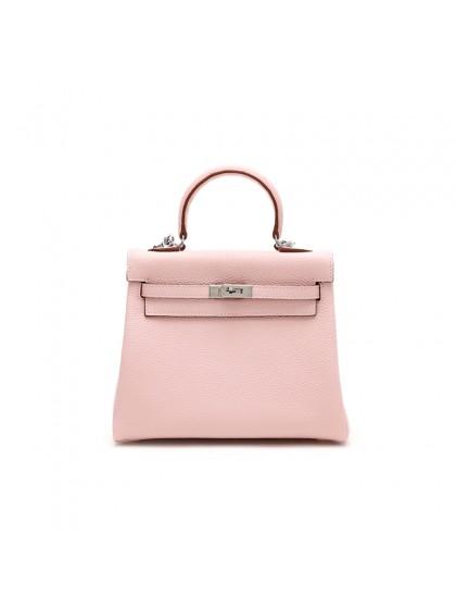 25CCKK 荔枝纹经典款baby粉色银扣(内缝)