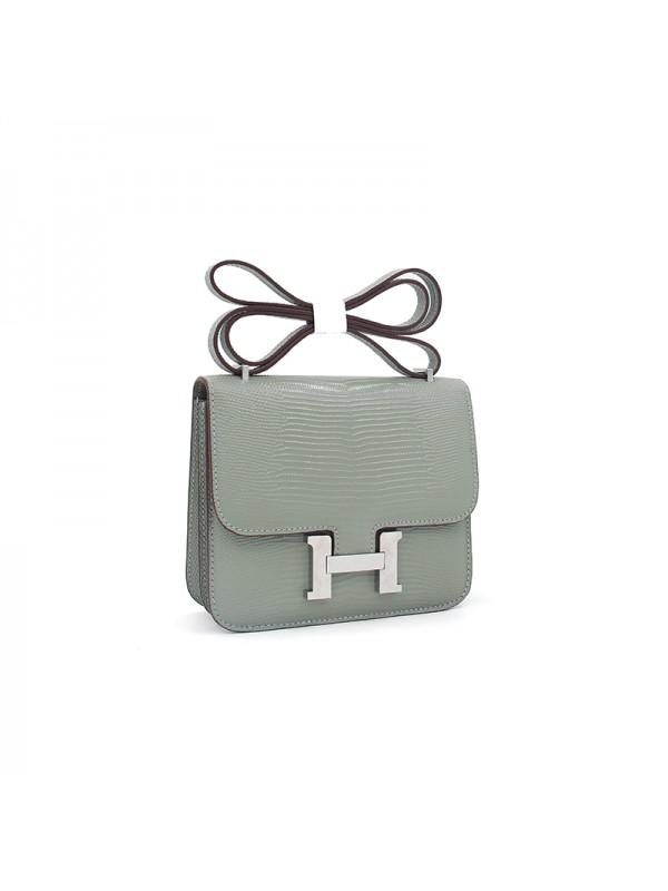 19/23CCDD 蜥蜴纹潘多拉空姐包浅灰色H银扣