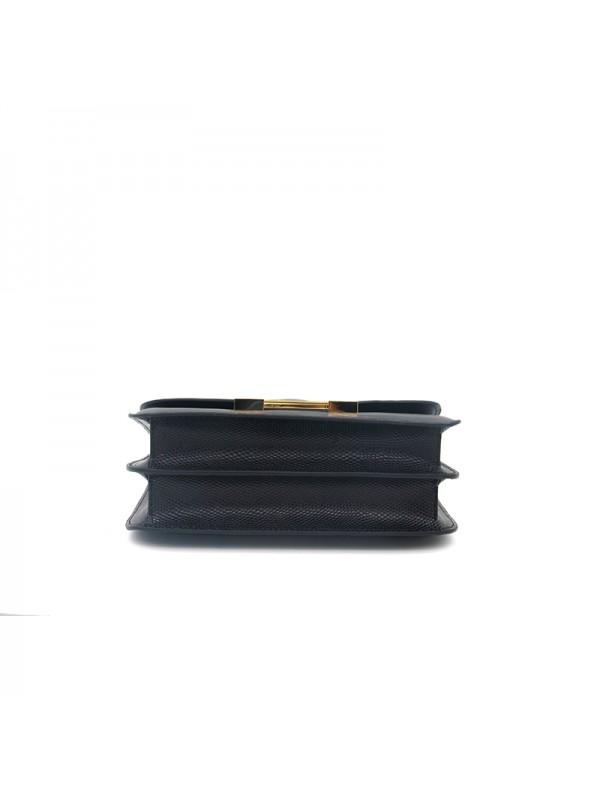 19/23CCDD 蜥蜴纹潘多拉空姐包经典黑色H金扣