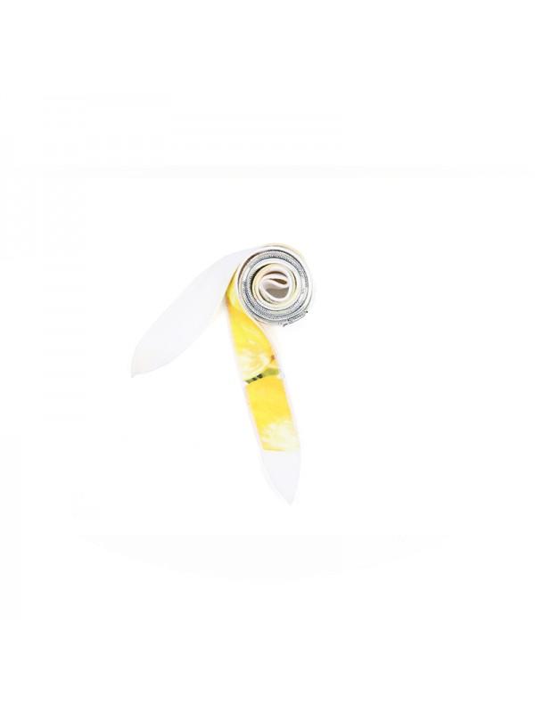 花色丝巾柠檬黄几何金扣