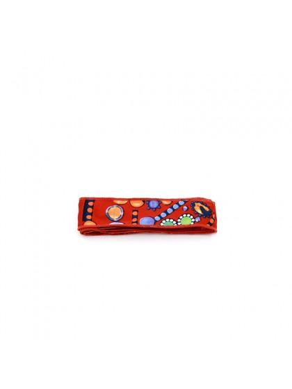 花色丝巾橙红色金扣